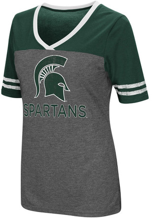 Colosseum Michigan State Spartans Womens Grey McTwist V-Neck