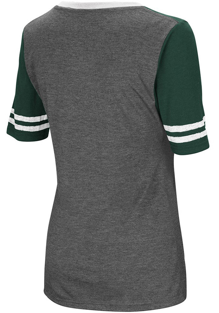 Colosseum Michigan State Spartans Womens Grey McTwist V-Neck T-Shirt - Image 2