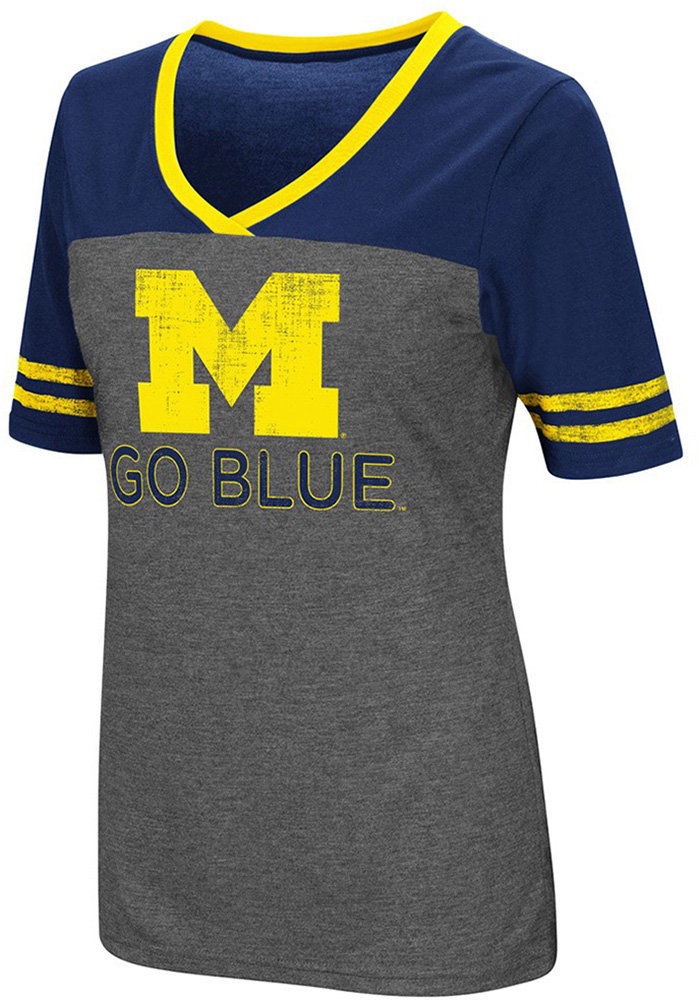 Colosseum Michigan Wolverines Womens Grey McTwist V-Neck T-Shirt - Image 1