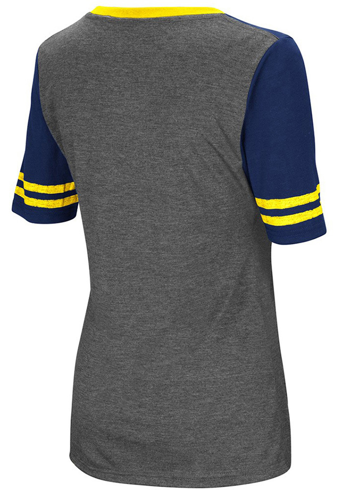 Colosseum Michigan Wolverines Womens Grey McTwist V-Neck T-Shirt - Image 2