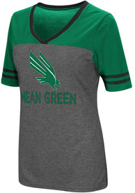 Colosseum North Texas Mean Green Womens Grey McTwist V-Neck