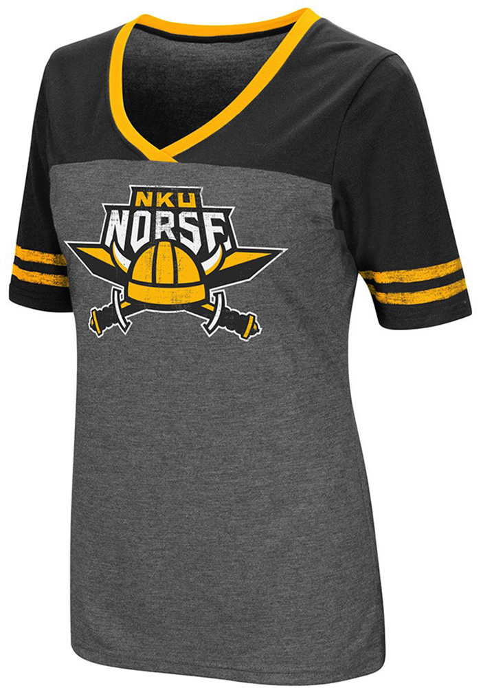 Colosseum Northern Kentucky Norse Womens Grey McTwist V-Neck T-Shirt - Image 1