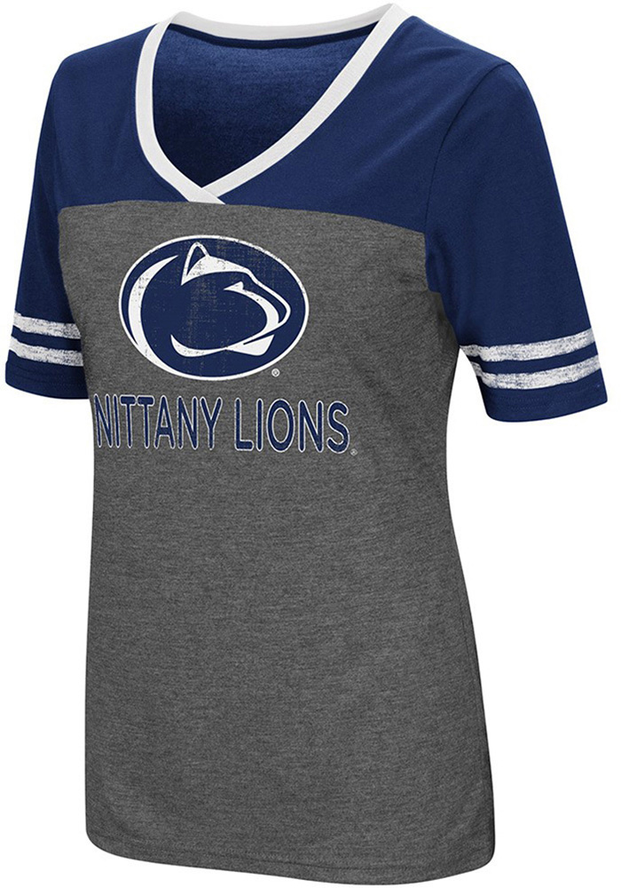 Colosseum Penn State Nittany Lions Womens Grey McTwist V-Neck T-Shirt - Image 1