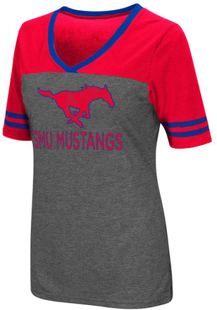 Colosseum SMU Mustangs Womens Grey McTwist V-Neck