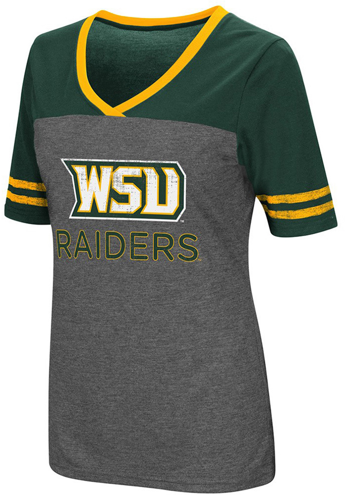Colosseum Wright State Raiders Womens Grey McTwist V-Neck T-Shirt - Image 1
