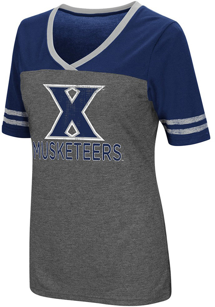 Colosseum Xavier Musketeers Womens Grey McTwist V-Neck T-Shirt - Image 1