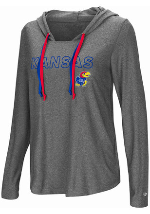 Colosseum Kansas Jayhawks Womens Grey Podium Featherweight T-Shirt