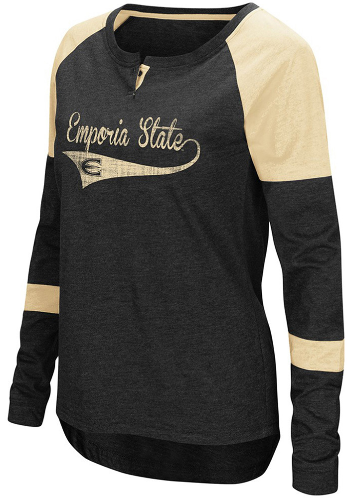 Colosseum Emporia State Womens Black Routine Long Sleeve Scoop Neck - Image 1