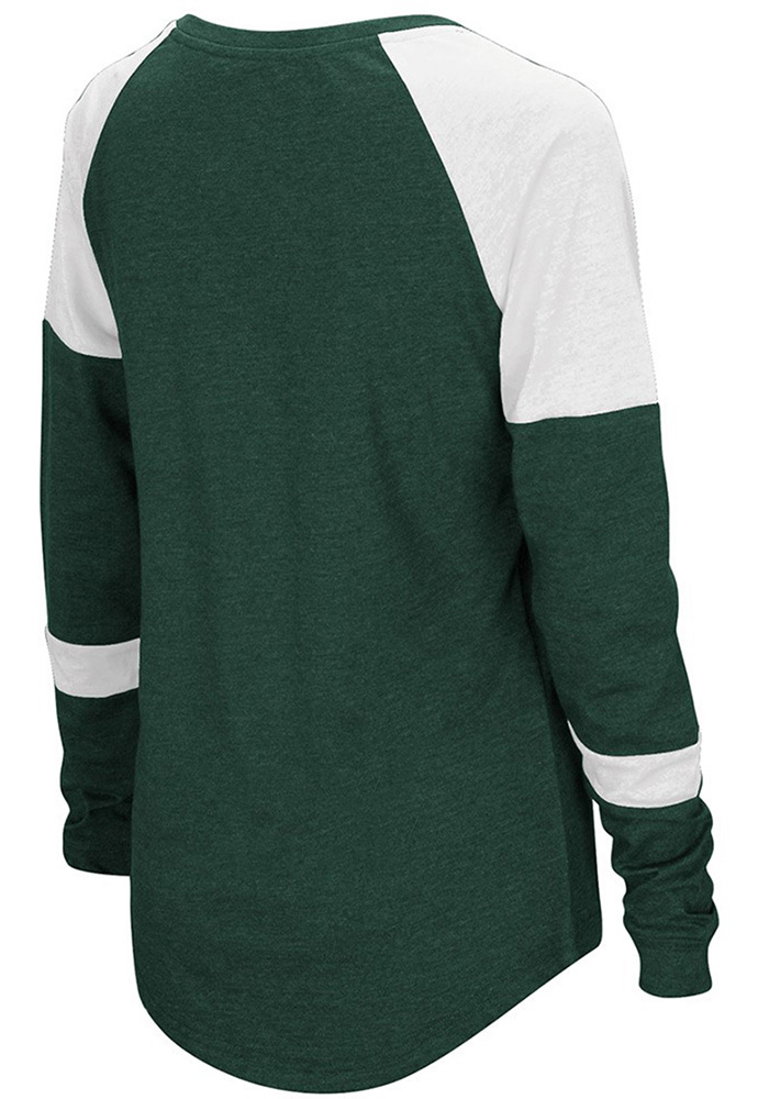 Colosseum MSU Womens Green Routine Long Sleeve Scoop Neck - Image 2