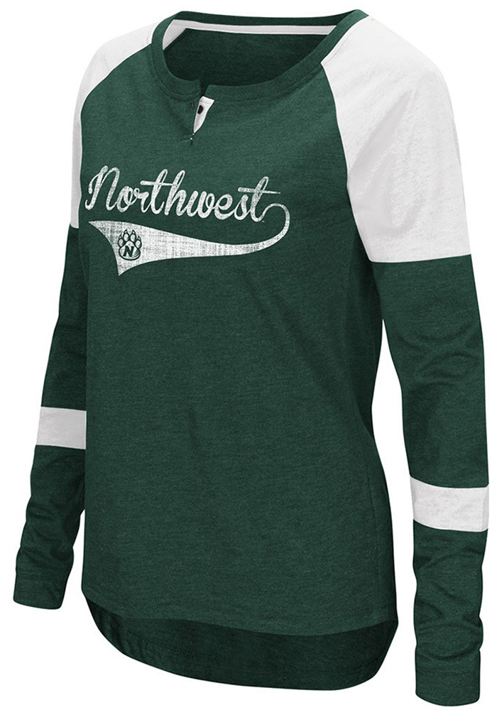 Colosseum Northwest Mo State Bearcats Womens Green Routine Long Sleeve Scoop Neck - Image 1