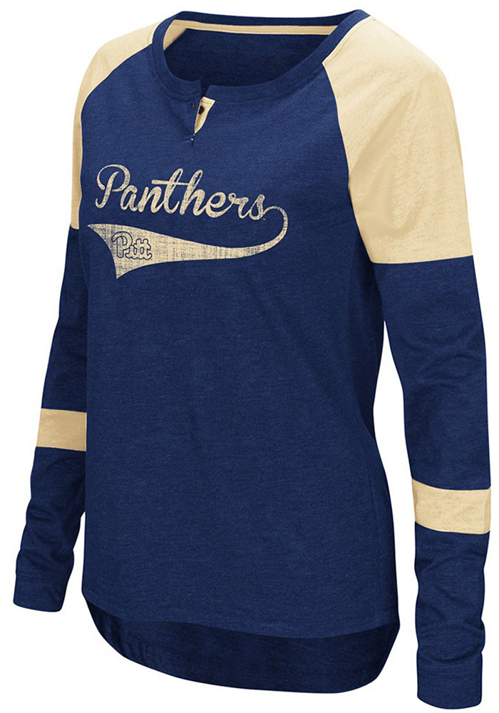 Colosseum Panthers Womens Navy Blue Routine Long Sleeve Scoop Neck - Image 1