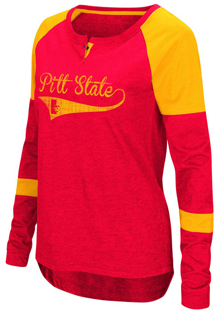 Colosseum Pitt State Womens Red Routine Long Sleeve Scoop Neck - Image 1