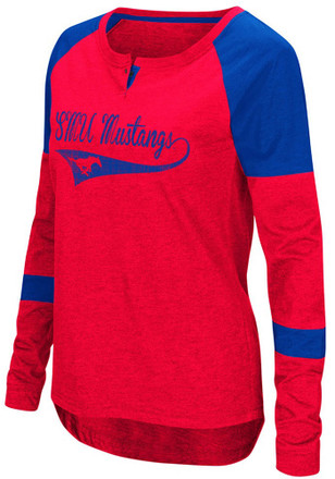 Colosseum SMU Mustangs Womens Routine Scoop Neck Tee