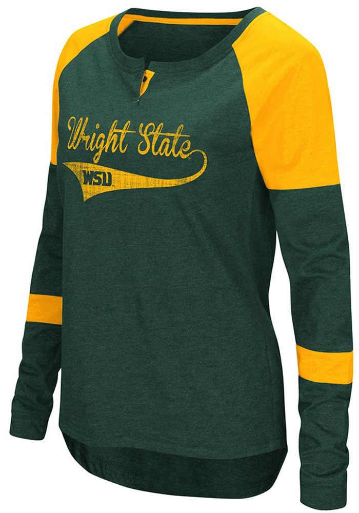 Colosseum WSU Raiders Womens Green Routine Long Sleeve Scoop Neck - Image 1