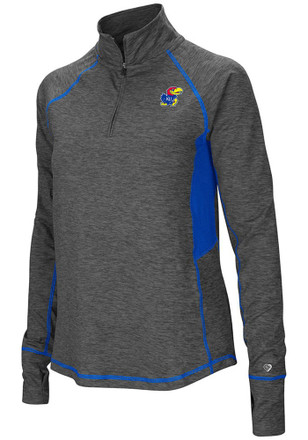 Colosseum Kansas Jayhawks Womens Sabre Grey 1/4 Zip Pullover