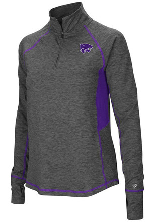 Colosseum K-State Wildcats Womens Sabre Grey 1/4 Zip Pullover
