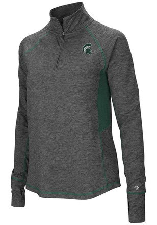 Colosseum Michigan State Spartans Womens Sabre Grey 1/4 Zip Pullover