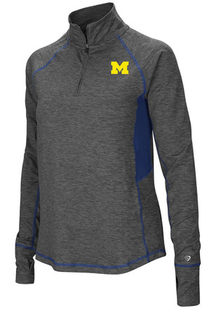 Colosseum Michigan Wolverines Womens Sabre Grey 1/4 Zip Pullover
