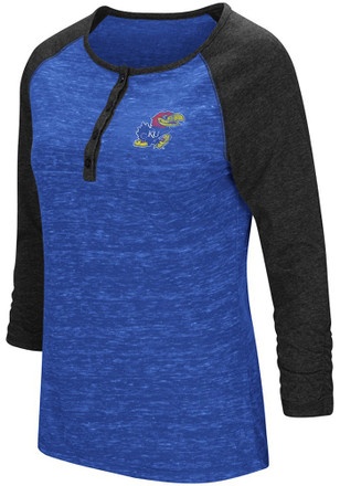 Colosseum Kansas Jayhawks Womens Slopestyle Scoop Neck Tee