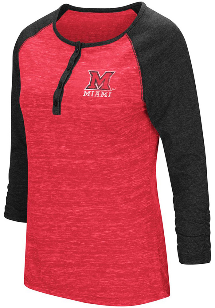 Colosseum Miami of Ohio Womens Red Slopestyle Long Sleeve Scoop Neck - Image 1