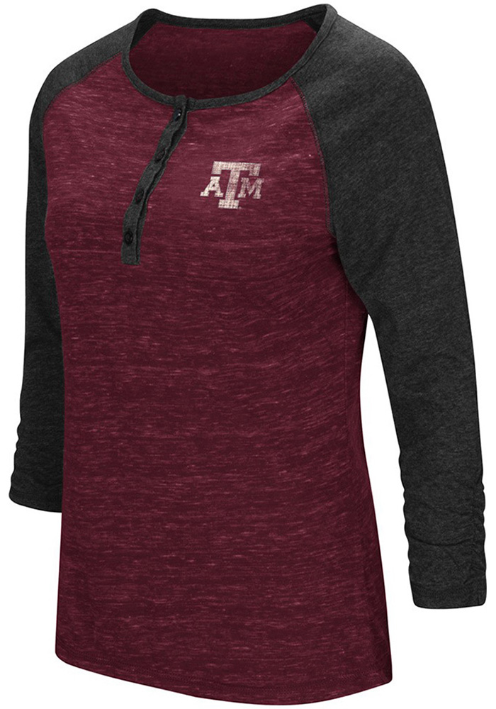 Colosseum Texas A&M Womens Maroon Slopestyle Long Sleeve Scoop Neck - Image 1