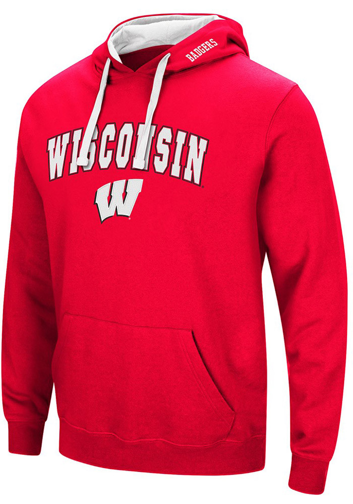 Colosseum Wisconsin Badgers Mens Red Rush Long Sleeve Hoodie - Image 1