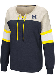 814dd0a211cac Colosseum Michigan Wolverines Womens Become Great Navy Blue Crew Sweatshirt