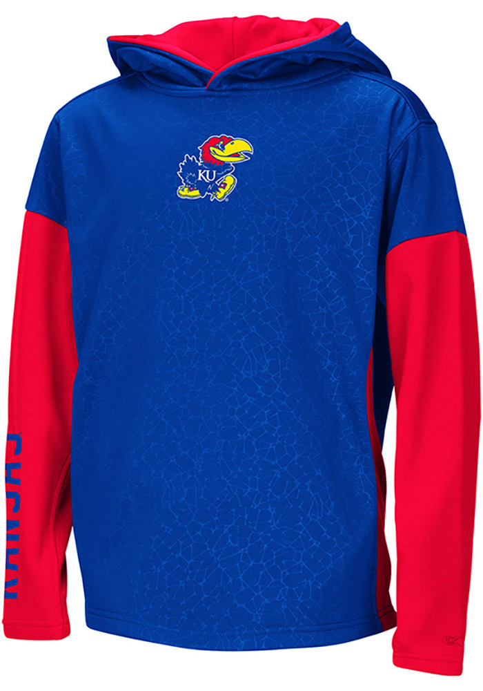 Colosseum Kansas Jayhawks Youth Blue Snurfer Long Sleeve Hoodie - Image 1
