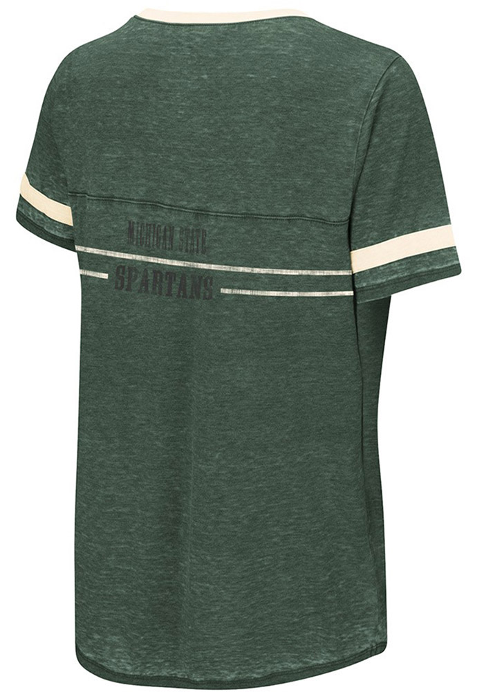 Colosseum Michigan State Spartans Womens Green Gunther V-Neck T-Shirt - Image 2