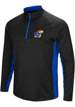 Colosseum Kansas Jayhawks Mens Black Upstart 1/4 Zip Pullover