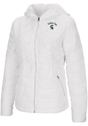 Michigan State Spartans Womens Colosseum As You Wish Heavy Weight Jacket - White