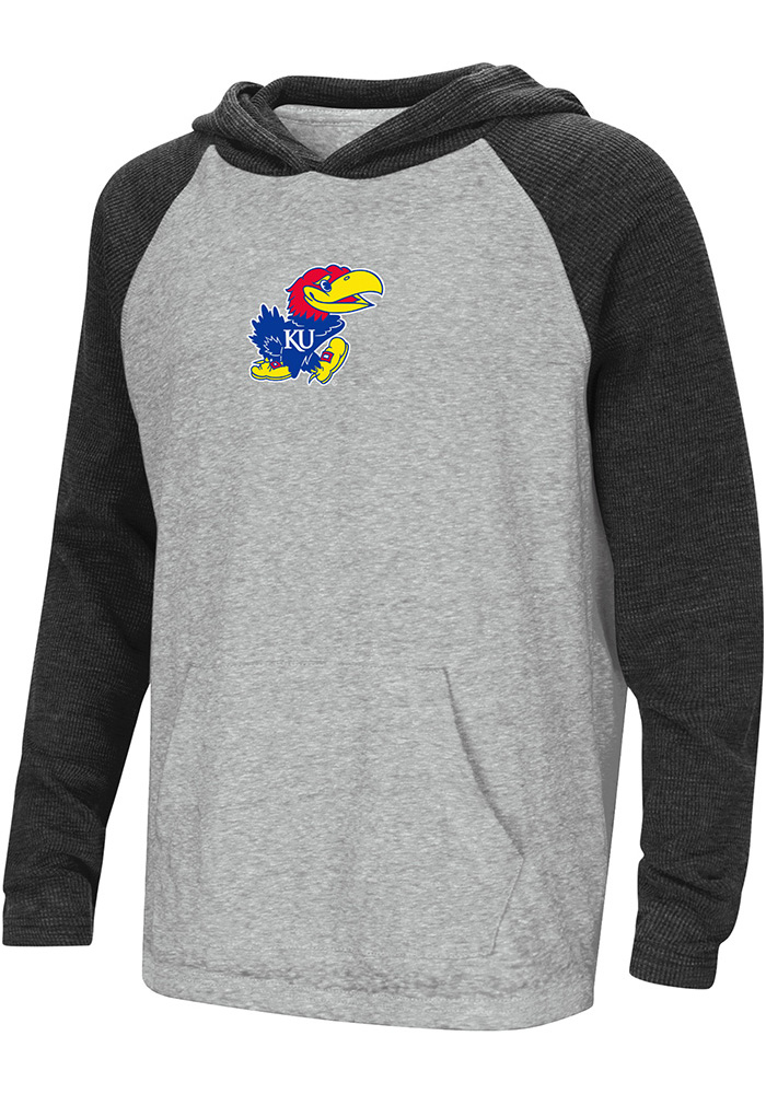 Kansas Jayhawks Kids Grey One-Eyed Hooded Sweatshirt
