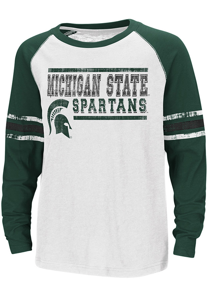 Colosseum Michigan State Spartans Youth White Marble Bag Long Sleeve T-Shirt - Image 1