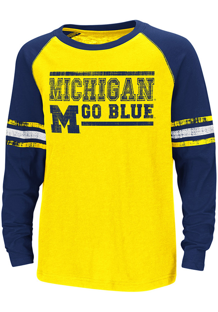 Colosseum Michigan Wolverines Youth Yellow Marble Bag Long Sleeve T-Shirt - Image 1