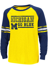 Colosseum Michigan Wolverines Youth Yellow Marble Bag T-Shirt