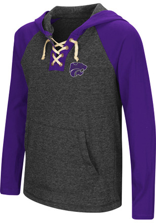 Colosseum K-State Wildcats Girls Black Andy Lace Up Hooded Sweatshirt