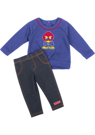 Kansas Jayhawks Infant Girls Colosseum Rosalita Top and Bottom - Blue