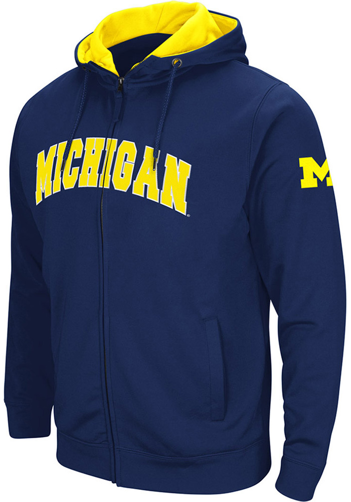 Colosseum Michigan Wolverines Mens Navy Blue Classic Long Sleeve Full Zip Jacket - Image 1