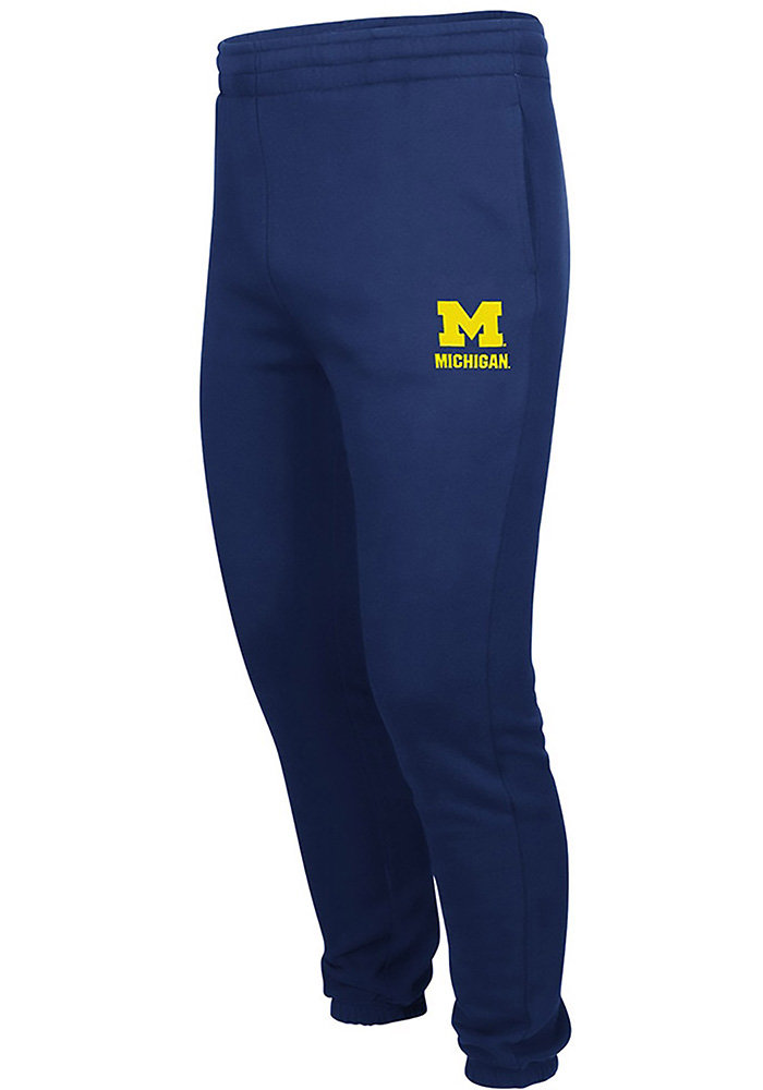 Colosseum Michigan Wolverines Mens Navy Blue Men's Zone III Fleece Pants Sweatpants, Navy Blue, 70% COTTON / 30% POLYESTER, Size M