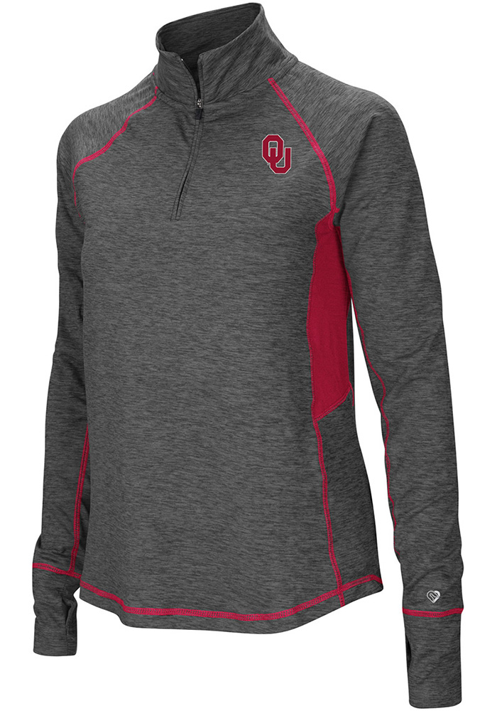 Colosseum Oklahoma Sooners Womens Grey Sabre 1/4 Zip Pullover 1/4 Zip Pullover - Image 1