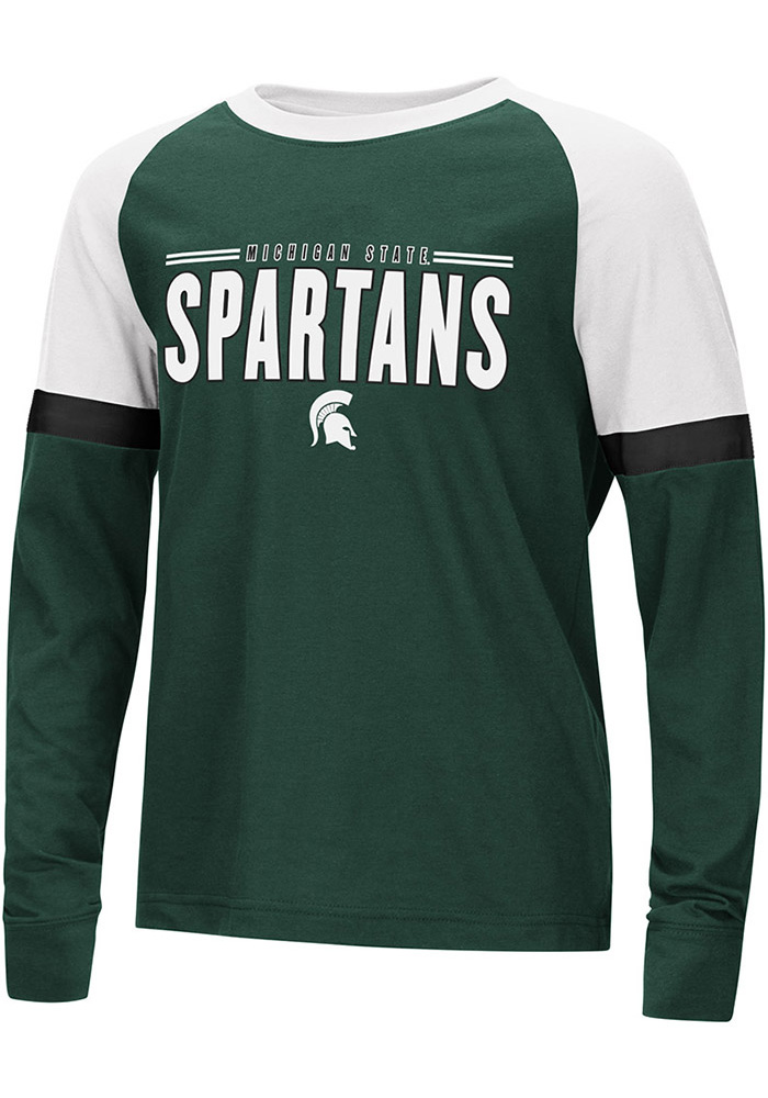 Colosseum Michigan State Spartans Youth Green Ollie Long Sleeve Fashion T-Shirt - Image 1