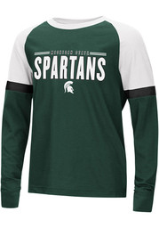 Colosseum Michigan State Spartans Youth Green Ollie Long Sleeve Fashion T-Shirt