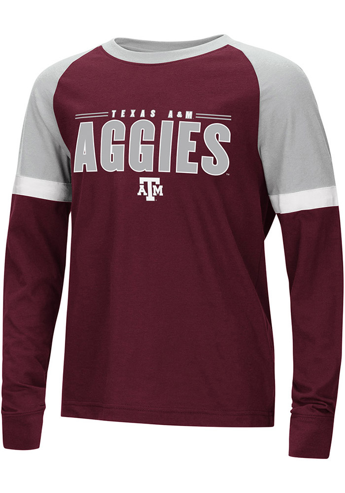 Colosseum Texas A&M Aggies Youth Maroon Ollie Long Sleeve Fashion T-Shirt - Image 1