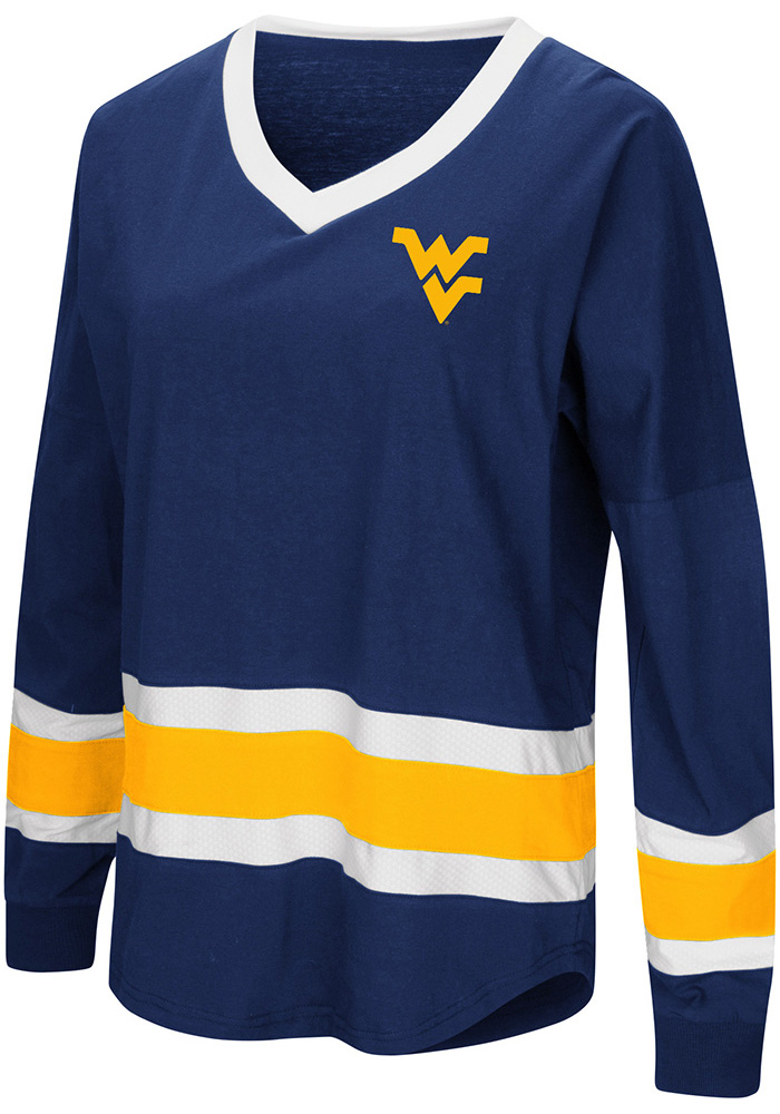 Colosseum West Virginia Mountaineers Womens Navy Blue Marquee LS Tee - Image 1