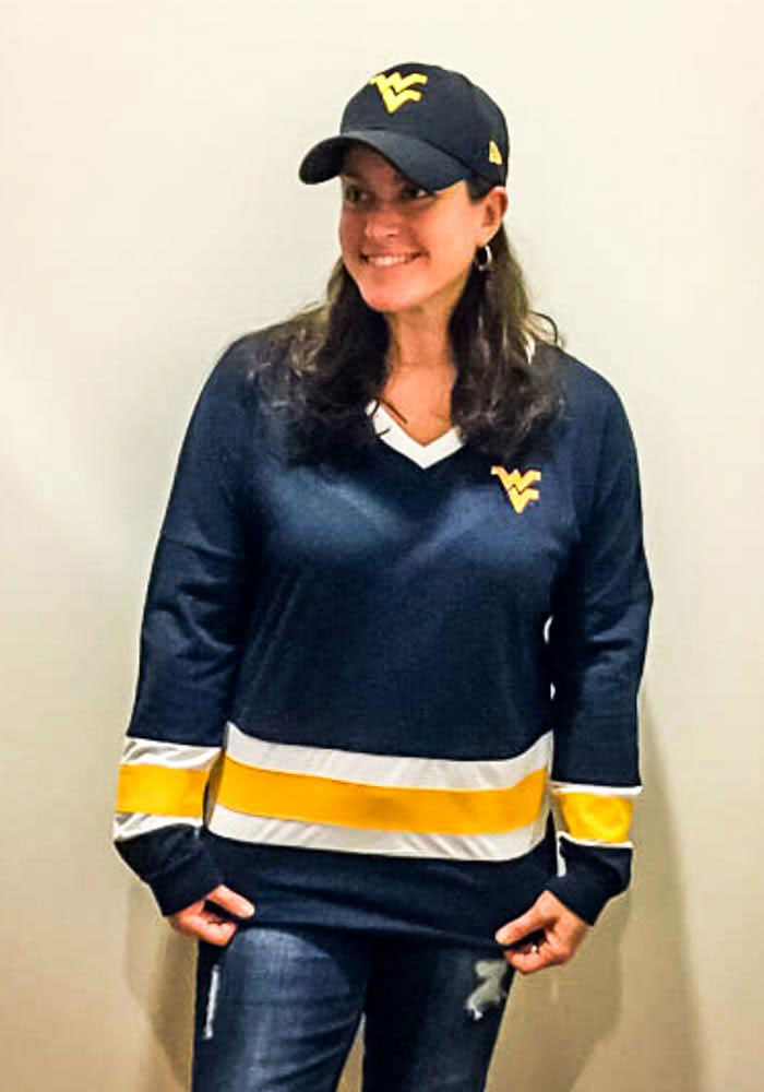 Colosseum West Virginia Mountaineers Womens Navy Blue Marquee LS Tee - Image 3