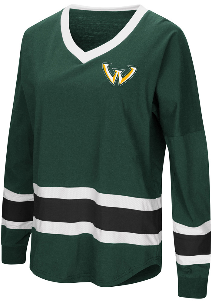 Colosseum Wayne State Warriors Womens Green Marquee LS Tee - Image 1