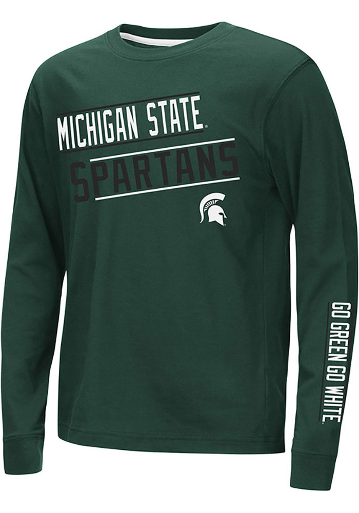 Colosseum Michigan State Spartans Youth Green Groomed Long Sleeve T-Shirt - Image 1