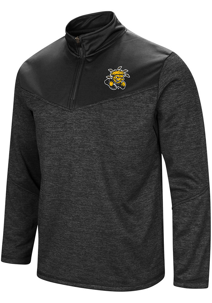 Colosseum Wichita State Shockers Mens Black Cougars Long Sleeve 1/4 Zip Pullover - Image 1