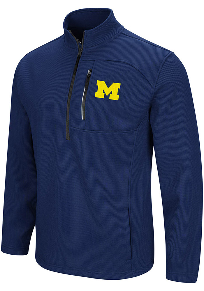 Colosseum Michigan Wolverines Mens Navy Blue Townie Long Sleeve 1/4 Zip Pullover - Image 1
