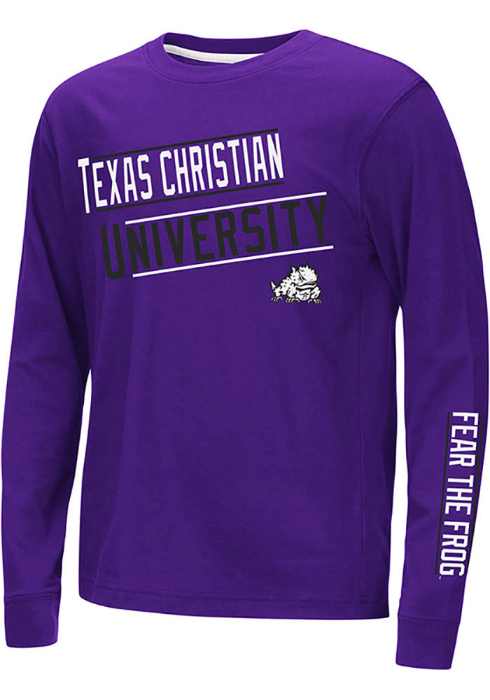 Colosseum TCU Horned Frogs Youth Purple Groomed Long Sleeve T-Shirt - Image 1